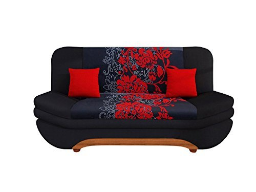 mirjan24 sofa weronika sving mit bettkasten und schlaffunktion bettsofa mit blumenmuster couch. Black Bedroom Furniture Sets. Home Design Ideas