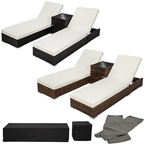 tectake 2x aluminium polyrattan sonnenliege tisch gartenm bel set inkl 2 bezugsets. Black Bedroom Furniture Sets. Home Design Ideas