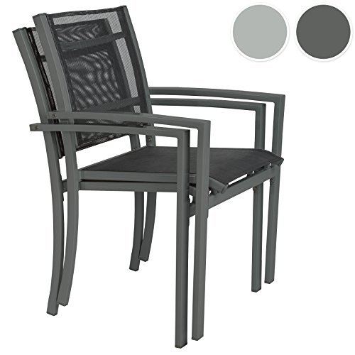 tectake gartenstuhl 2er set hochlehner metall mit armlehnen stapelbar diverse farben. Black Bedroom Furniture Sets. Home Design Ideas