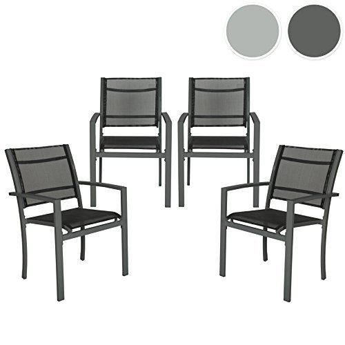 tectake gartenstuhl 4er set hochlehner metall mit armlehnen stapelbar diverse farben. Black Bedroom Furniture Sets. Home Design Ideas
