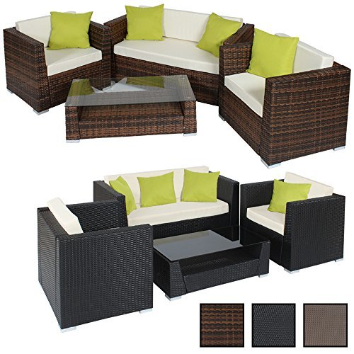 tectake hochwertige alu luxus lounge set poly rattan sitzgruppe gartenmbel mit 4 extra kissen. Black Bedroom Furniture Sets. Home Design Ideas