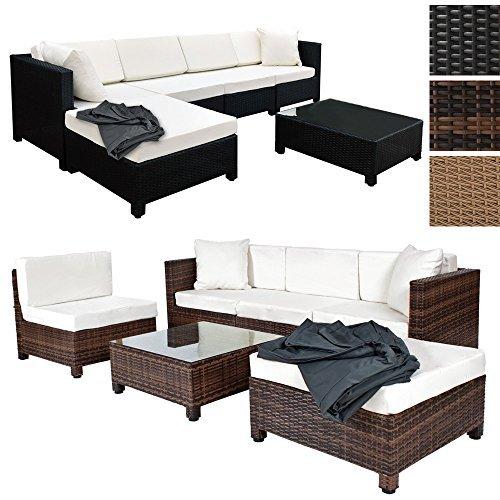 tectake hochwertige aluminium luxus lounge mit 2 bezugssets poly rattan sitzgruppe sofa. Black Bedroom Furniture Sets. Home Design Ideas