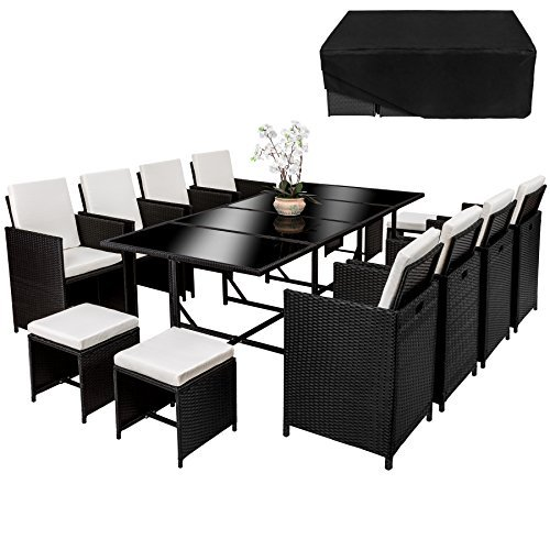 tectake poly rattan 8 4 1 sitzgruppe 8 st hle 4 hocker 1 tisch schutzh lle. Black Bedroom Furniture Sets. Home Design Ideas
