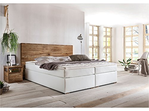 woodkings boxspringbett hastings 180x200 cm kunstleder wei mit echtholzkopfteil aus eiche und. Black Bedroom Furniture Sets. Home Design Ideas
