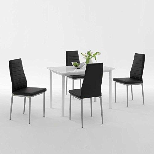 Esstisch Pharao ~ Esstisch mit Stühlen in Weiß Hochglanz Schwarz Kunstleder (5teilig) Pharao24