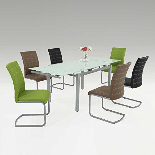 Esstischgruppe mit ausziehbarem Glastisch bunte Stühle (7-teilig) Pharao24