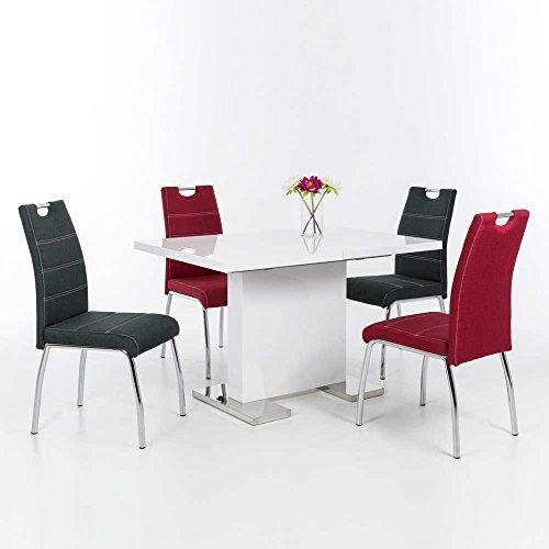 Esszimmer Sitzgruppe in Weiß Hochglanz Rot Anthrazit (5-teilig) Pharao24