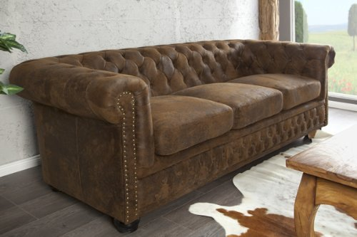 invicta interior 17382 chesterfield sofa 3 er antik look 0 m bel24. Black Bedroom Furniture Sets. Home Design Ideas
