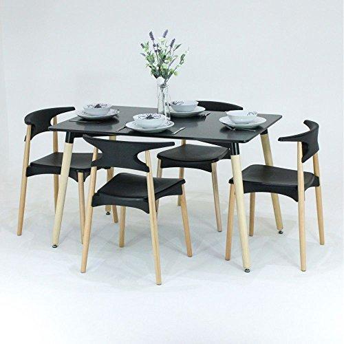 P & N Homewares® Basilio Esstisch und Stühle Set 4Stühle und 1schwarz oder weiß Esstisch Retro und Moderne Esszimmergarnitur weiß oder schwarz Stühle