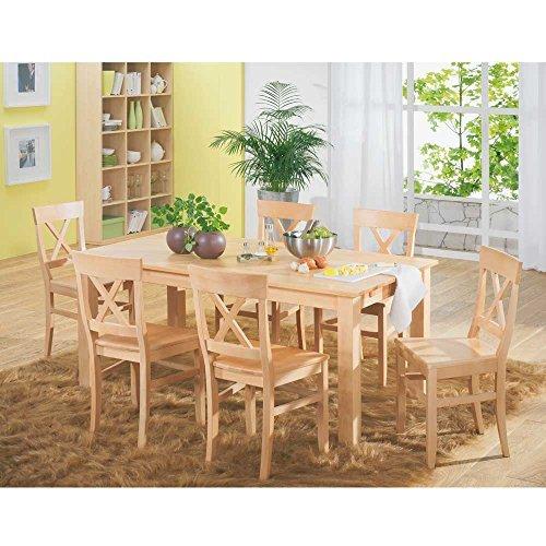 Pharao24 SET Bergheim Buche massiv Tisch Stühle