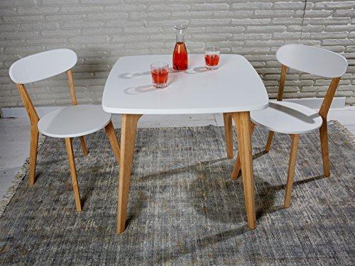 Sitzgruppe aus Esstisch und 2 Stühlen im skandinavischen Retro Stil weiß mit Massivholzbeinen - Essgruppe mit Esszimmertisch 80x80x75 cm Küchentisch Tisch