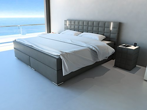 xxs m bel boxspringbett buffalo mit led 200 x 200 cm kunstlederbezug in grau wellness. Black Bedroom Furniture Sets. Home Design Ideas