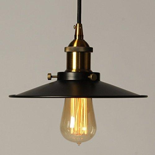 Vintage Pendelleuchte / Elfeland Retro Industrielle Deckenleuchte Loft Lampe / Schwarz Eisen Lampenschirm / E27 Keramik Lampenfassung / 3-adriges Textilkabel (ohne Birne) / 1 Pack