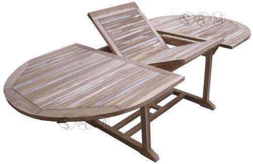 XXS® Möbel Gartentisch Aruba hochwertiges Teak Holz Schirmloch in der Mitte des Tisches ausziehbar natürliche Maserung pflegeleicht Lager Speditionsversand