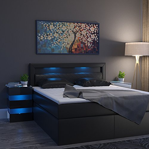 m bel24 nachttisch led 70cm hoch f r boxspringbett schwarz. Black Bedroom Furniture Sets. Home Design Ideas