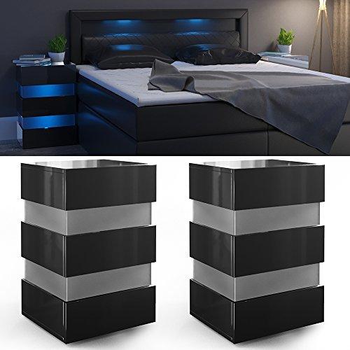 m bel24 2x nachttisch set led 70cm hoch f r boxspringbett schwarz hochglanz nachtkommode. Black Bedroom Furniture Sets. Home Design Ideas