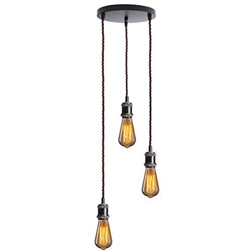KINGSO E27 Lampenfassung mit drei Fassungen Edison Pendelleuchte Hängelampe Halter DIY Lampe Zubehör im Vintage-Stil mit braunemTextilkabel & Baldachin mit Zertifikat Schwarz