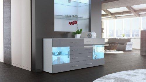 sideboard kommode bari v2 korpus in wei matt front in grau hochglanz m bel24 shop. Black Bedroom Furniture Sets. Home Design Ideas