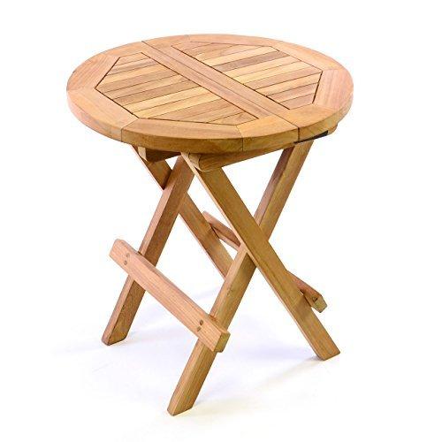 DIVERO Kindertisch Gartentisch Balkontisch Beistelltisch Holz Teak klappbar rund