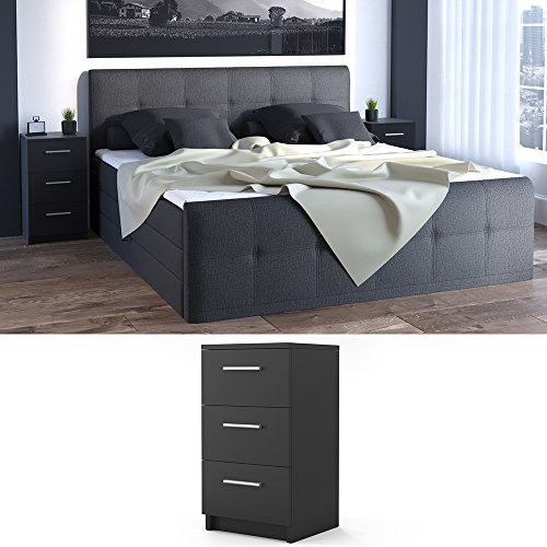 nachtkommode f r boxspringbett 66cm hoch schwarz nachtschrank nachttisch kommode schrank. Black Bedroom Furniture Sets. Home Design Ideas