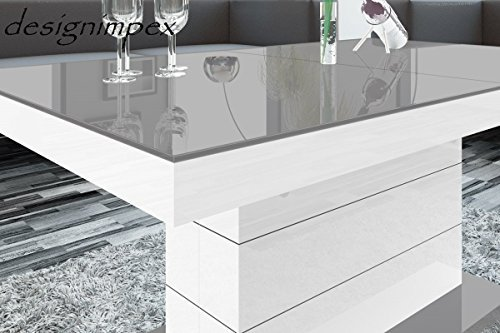 design couchtisch h 333 wei grau hochglanz h henverstellbar ausziehbar tisch m bel24. Black Bedroom Furniture Sets. Home Design Ideas