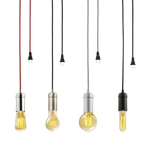 KINGSO Edison Modern Hängelampe Vintage Metall Pendelleuchte Kronleuchte DIY Lampe mit E27 Lampenfassung,Stecker,Schalter und Zertifikat schwarz