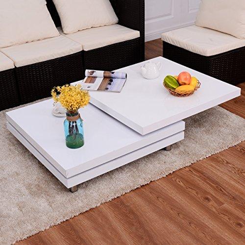costway couchtisch wohnzimmertisch salontisch sofatisch kaffeetisch clubtisch hochglanz wei. Black Bedroom Furniture Sets. Home Design Ideas