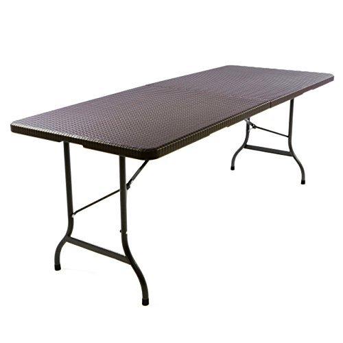 partytisch klapptisch gartentisch rattan optik 180 x 75 cm braun stabil esstisch buffettisch. Black Bedroom Furniture Sets. Home Design Ideas