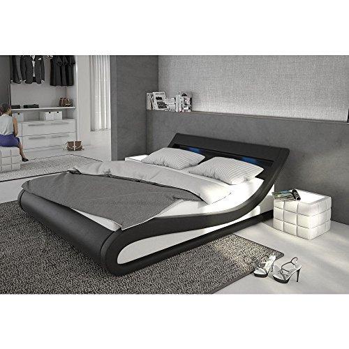 Polster-Bett 180x200 cm schwarz-weiß aus Kunstleder mit LED-Beleuchtung | Bellugia | Das Kunst-Leder-Bett ist ein Designer-Bett | Doppel-Betten 180 cm x 200 cm mit Lattenrost in Leder-Optik, Made in EU