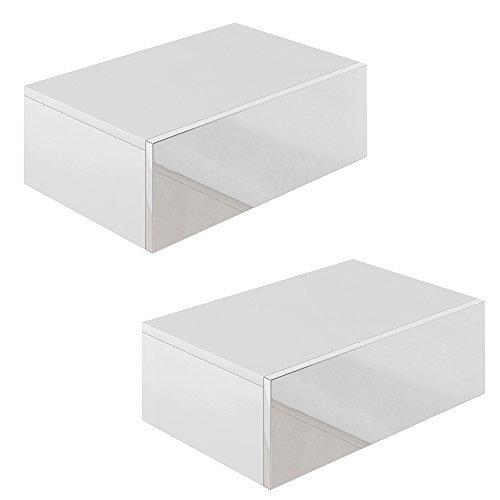 2x Nachttisch Kommode Nachtschrank Schublade Ablage Schrank Schlafzimmer Weiß Hochglanz