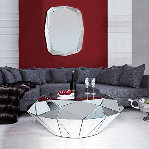 cag xxl design spiegelglas couchtisch diamant mit. Black Bedroom Furniture Sets. Home Design Ideas