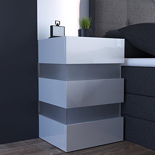 m bel24 nachttisch led 70cm hoch f r boxspringbett wei. Black Bedroom Furniture Sets. Home Design Ideas