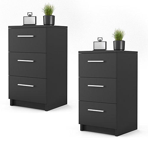 m bel24 nachtkommode f r boxspringbett 2 er set 66cm hoch schwarz nachtschrank nachttisch. Black Bedroom Furniture Sets. Home Design Ideas