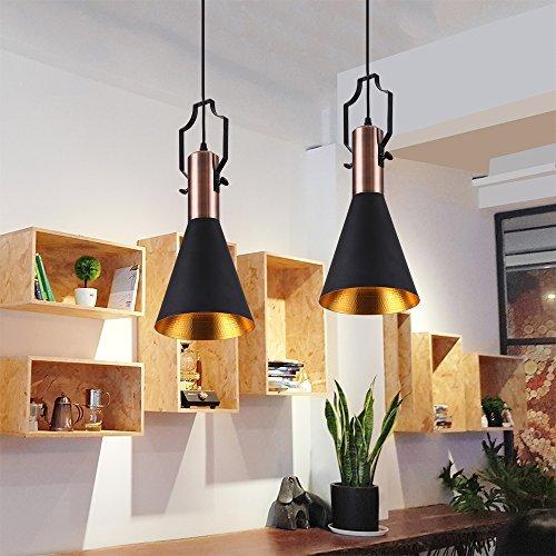mstar retro industrielle pendelleuchte aus metall schwarz gold lackiert vintage. Black Bedroom Furniture Sets. Home Design Ideas