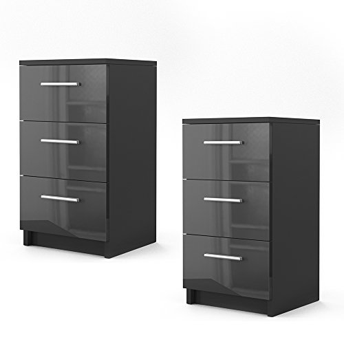 m bel24 m bel g nstig nachtkommode f r boxspringbett 2 er set 66cm hoch schwarz hochglanz. Black Bedroom Furniture Sets. Home Design Ideas