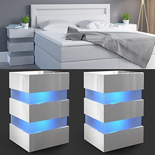 m bel24 2x nachttisch set led 70cm hoch f r boxspringbett wei hochglanz nachtkommode. Black Bedroom Furniture Sets. Home Design Ideas