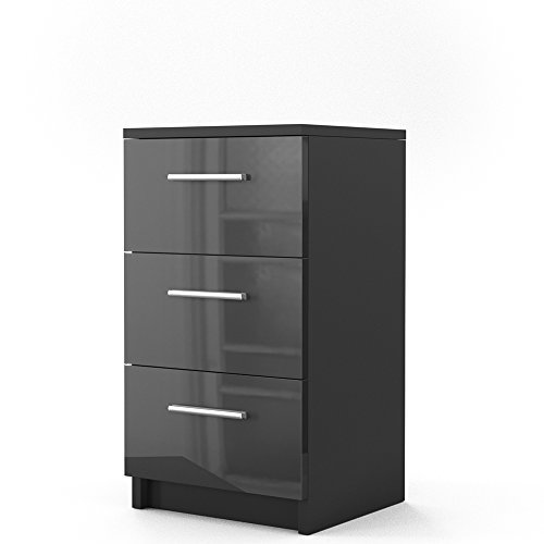 nachtkommode f r boxspringbett 66cm hoch schwarz hochglanz nachtschrank nachttisch kommode. Black Bedroom Furniture Sets. Home Design Ideas