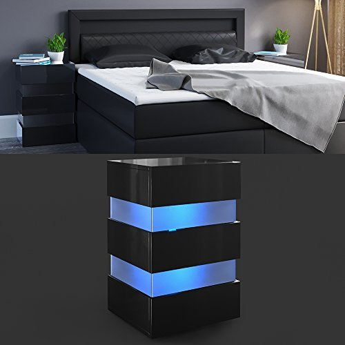 nachttisch led 70cm hoch f r boxspringbett schwarz hochglanz nachtkommode nachtschrank kommode. Black Bedroom Furniture Sets. Home Design Ideas