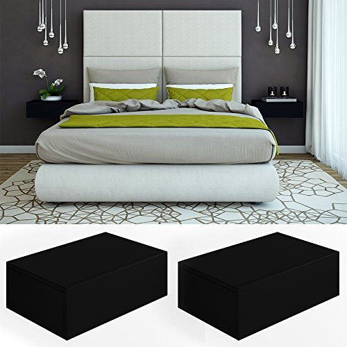 2x nachttisch kommode nachtschrank schublade ablage schrank schlafzimmer schwarz m bel24. Black Bedroom Furniture Sets. Home Design Ideas
