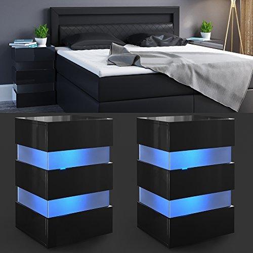 2x Nachttisch Set LED 70cm hoch für Boxspringbett Schwarz Hochglanz Nachtkommode Nachtschrank Kommode Schrank Schublade RGB - inkl. Fernbedienung