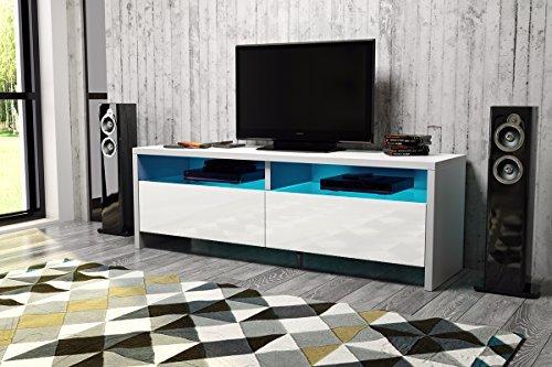 tv schrank lowboard sideboard hopi mit led wei matt. Black Bedroom Furniture Sets. Home Design Ideas