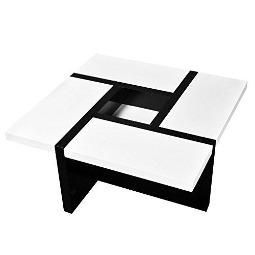 vidaxl hochglanz wohnzimmertisch couchtisch beistelltisch kaffeetisch wei schwarz m bel24. Black Bedroom Furniture Sets. Home Design Ideas