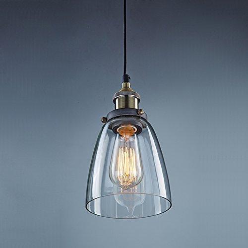 Lightess Industrie Retro Hängelampe Glas Shade Anhänger Deckenleuchten für Küche Loft Schlafzimmer Office Home Dekorative