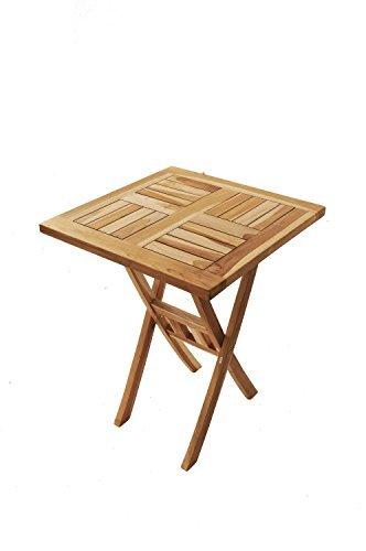 SAM® Teak-Holz Balkon-Tisch, Garten-Tisch, Holz-Tisch, 60 x 60 cm quadratisch, zusammenklappbar, leicht zu verstauen, Tisch aus Teak, Massiv-Holz