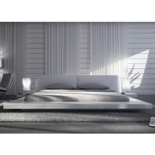 Polster-Bett 200 x 200 cm weiß aus Kunstleder mit integrierten Nachtkonsolen | Lraep | Das Kunst-Leder-Bett ist ein edles Designer-Bett Doppel-Bett 200 cm x 200 cm mit extrem niedriger Betthöhe