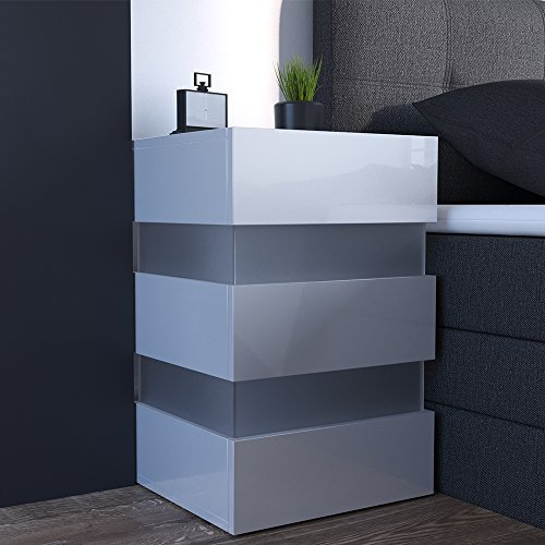 m bel24 m bel g nstig 2x nachttisch set led 70cm hoch f r boxspringbett wei hochglanz. Black Bedroom Furniture Sets. Home Design Ideas