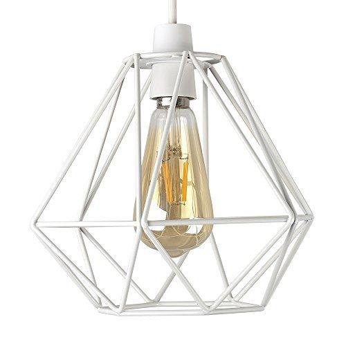 MiniSun – Retro, schöner und weißer Lampenschirm in Korbform aus Metall – für Hänge- und Pendelleuchte