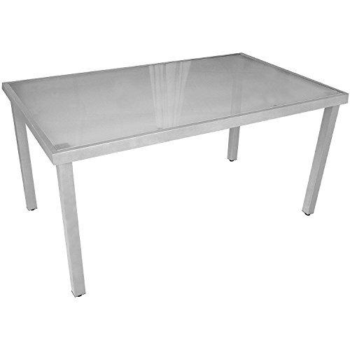 Gartentisch Aluminium Glastisch mit satinierter Glasplatte Silbergrau 150x90cm Gartenmöbel Terrassenmöbel Balkonmöbel Beistelltisch