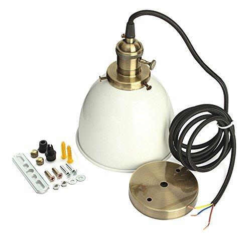 Elfeland Retro Pendelleuchte Hängeleuchte mit Weißem Lampenschirm E27 Fassung Höhenverstellbar