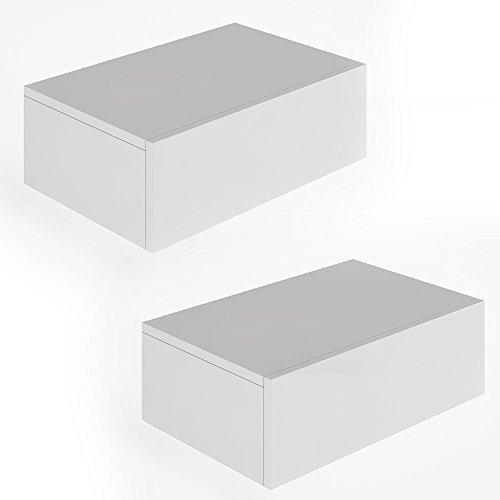 2x Nachttisch Kommode Nachtschrank Schublade Ablage Schrank Schlafzimmer Weiß